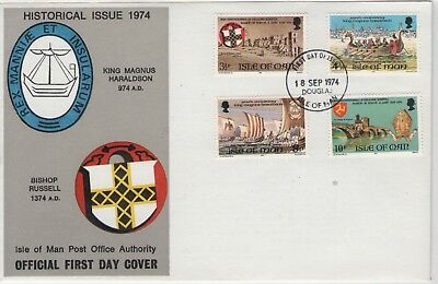 Isle Of Man Historical Issue 1974  First Day Cover Free P&p
