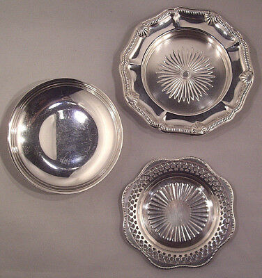 3 Silver plated shallow bowls by different makers Excellent used condition