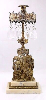 Antique Brass on Marble Candelabra w/ Dangling Crystals, Man and Woman Relief