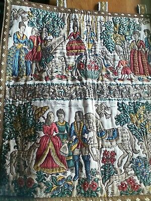 """Antique/Vintage French Wall Hanging Tapestry """"23 1/2 by 27"""" COURTING COUPLES"""