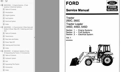 FORD 250C 260C 345D 445D 545D TRACTOR SERVICE REPAIR MANUAL 3 Volume New Holland D Alternator Wiring Diagram on