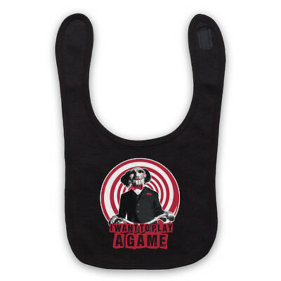 Saw Unofficial I Want To Play A Game Billy Puppet Film Baby Bib Cute Baby Gift