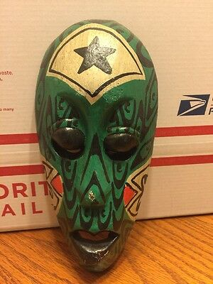Antique Indonesian Painted Hand Carved Wood Mask Green White Black Red