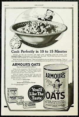 1920 ARMOUR'S OATS Cereal & Macaroni Kitchen Food Cooking Happy Elf Vtg PRINT AD