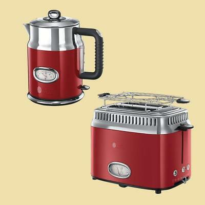 Russell Hobbs Set Retro Ribbon Red - Wasserkocher 21670-70 + Toaster 21680-56
