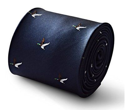 Frederick Thomas navy blue mens tie with flying duck design FT3335