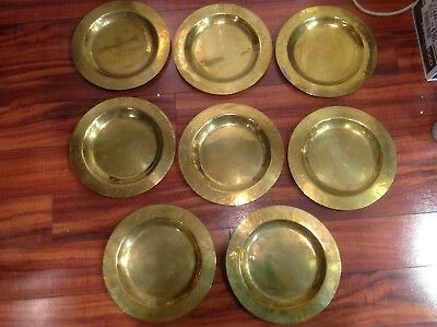 Vintage 8pc Lot Of Brass circular Charger Plates Gold Color Heavy ~12 inch