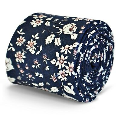 Frederick Thomas mens navy blue cotton/linen tie with floral pattern