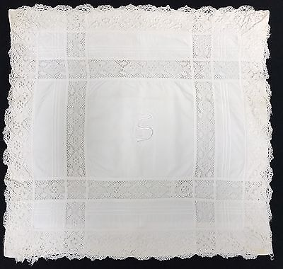 2 VTG Antique Euro Pillow Shams Crochet Lace Border Inserts Monogrammed (RF648)