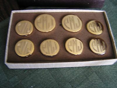 VINTAGE 8 Solid Brass Shank Buttons Metal Monogrammed TROUPING THE COLOURS-NEW