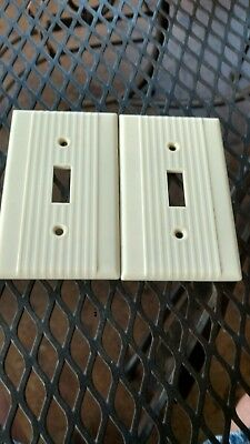 2 Ivory Vtg Bakelite ? Ribbed Deco Single Gang Leviton Switch Plate Cover