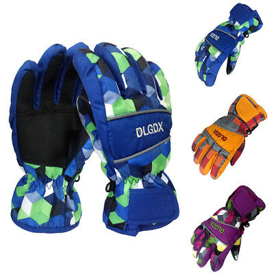 Pop Kids Ski Gloves Multi-Color Antislip Winter Sports Glove Biking Hands Warmer
