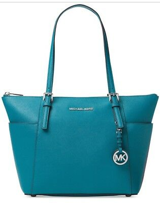 New Michael Kors Jet Set East West Top Zip Tote saffiano leather bag peacock