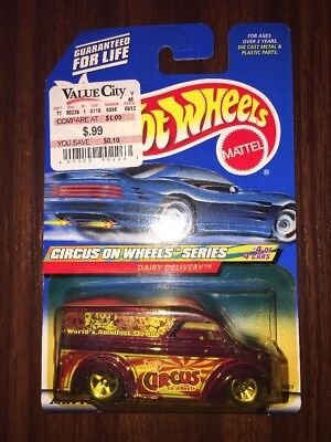Hot Wheels Circus On Wheels Series Dairy Delivery #028 New Sealed 4 OF 4 CARS