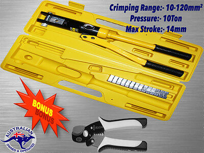 Hydraulic Crimping Tool10-120MM² 10T With Cable Cutter & Striper W/35MM² Cutting