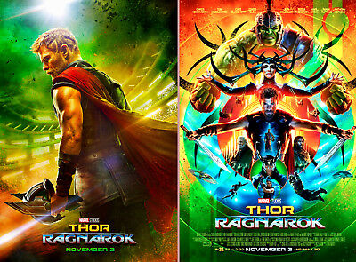 "SET OF 2 NEW ORIGINAL MARVEL STUDIOS 2017 ""THOR RAGNAROK"" 13x20 DS MOVIE POSTER"