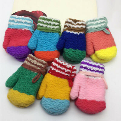 Pop Kids Gloves Sweet Color Children Mittens Winter Warm Keep Neck String Glove