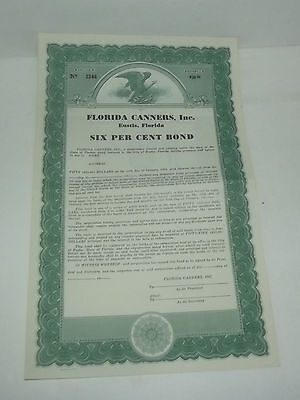 Very Neat Forida Canners Inc 6 % Bond Unissued Stock Certificate