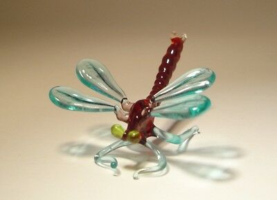 Blown Glass Art Insect Figurine Small Dark Red with Yellow Eyes DRAGONFLY