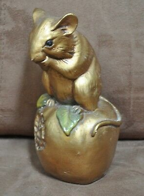 Progressive Art Products 1977 Chalkware Gold Mouse on Apple