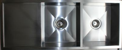 Handmade Stainless Steel Kitchen Sink Double Bowls with Drainer (114cm x 50cm)
