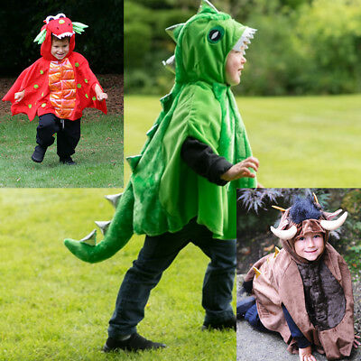 Toddler Boys Girls Kids Dragon Dinosaur Monster  Cape Costume Outfit Age 1-2-3