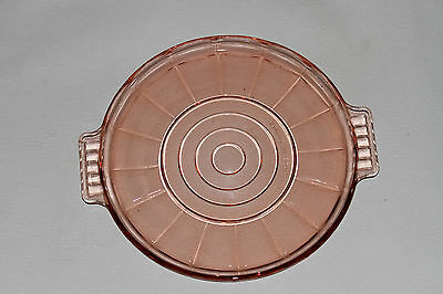 Vintage Art Deco Round Glass Tray Platter French France Pink Salmon Coctail