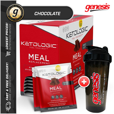 Keto Meal Replacement by KetoLogic *10 Sachets Chocolate* Low Carb + Free Gift!