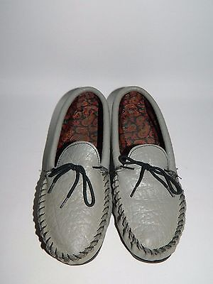 True Vintage Grey Leather Mocassin / Slippers - Size Uk 5 - Paisley Print Lining