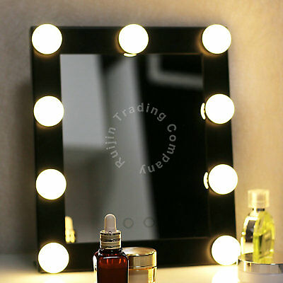 Hollywood Makeup Miroir De Maquillage 9 LED Lighted Dimmer Stage Beauty Mirror