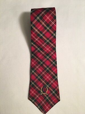 "Tommy Hilfiger Red Plaid with stars Tie Great Condition 50""  x 3.25"""