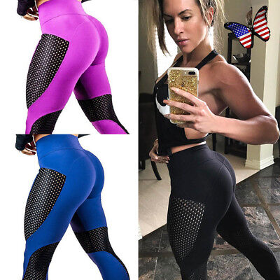 Women's Fitness Leggings Butt Lift Push-Up Sports Yoga Pants Mesh Thigh Trousers