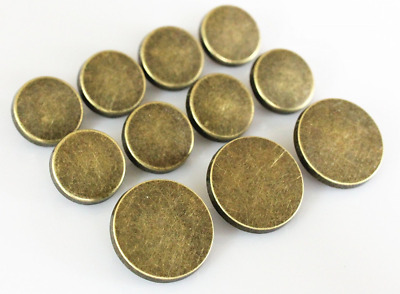 YCEE 11 Pieces Vintage Antique Brass (Bronze) Plain Metal Blazer Button Set - Fl