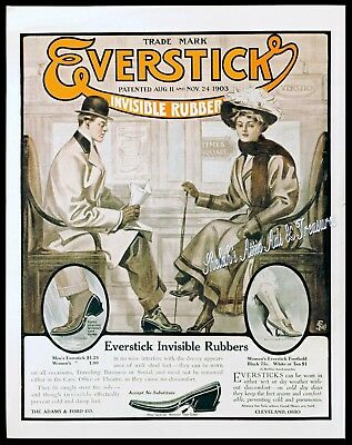 1908 Adams & Ford EVERSTICK Invisible Rubbers EDWARDIAN Shoe Galoshes Vtg AD