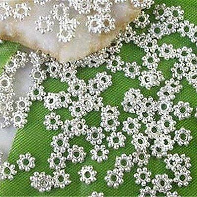 1000PCS 4mm Daisy Flower Loose Spacer Beads Silver Plated Metal DIY Findings