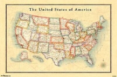 Usa Us Map Poster Antique Style 34x22 New Free Shipping