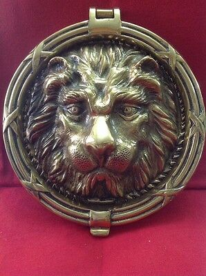 HUGE VTG solid heavy brass ornate lion tiger head front door knocker plate 8.5""