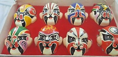 Set Of 8 Vintage CHINESE OPERA MASKS Various Colors , Masks-MINT/Box-EX