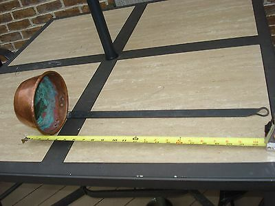 "Antique Wrought Iron And Copper Water Soup Dipper 1 Qt 22"" Long"