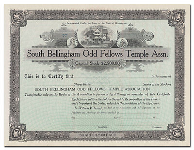 South Bellingham Odd Fellows Temple Assn. Stock Certificate