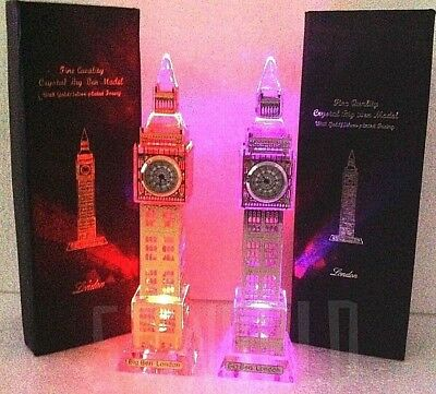London Big Crystal Glass Gold/silver Ornament Big Ben 3D Lights Up With Clock