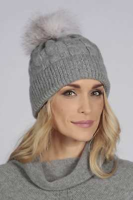 c05872649b2f Light gray pure cashmere fur pom pom cable knit beanie hat MADE IN ITALY
