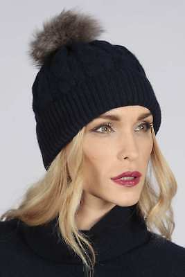 409ff123 Blue navy pure cashmere fur pom pom cable knit beanie hat MADE IN ITALY