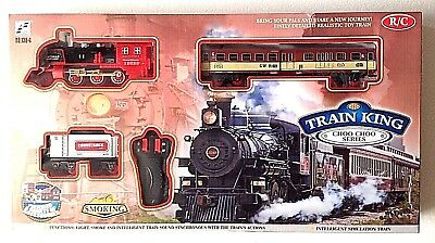Classic R/C Train Set Railway Toy Carriage Real Steam Smoke Horn Sound Lights