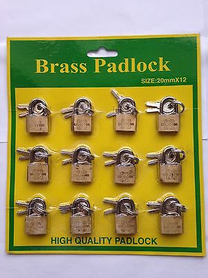 12x BRASS PADLOCKS WITH 2 KEYS TOP QUALITY SECURITY LOCK FOR SUITCASE-20,25,30mm