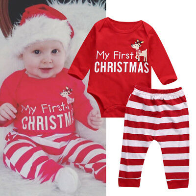 Newborn Baby Boys Girl Kids Christmas Romper Clothes Outfits Pants