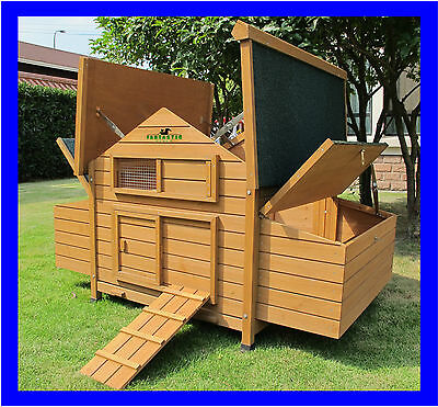 Beaumont Large Deluxe Chicken Coop Hen Poultry House Rabbit Hutch Run Nest