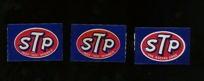 """Lot of 3 STP Stickers - Indy """"500"""" Winner - Vintage Race Decal/Sticker - c1970s"""
