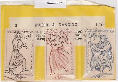 (V1-77) 1961 Czech old stamps pack 3 stamps dancing (PA)