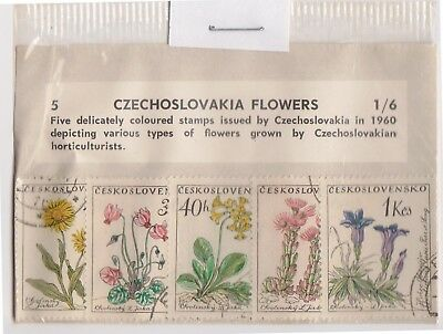 (V1-81) 1960 Czech old stamps packs 5 stamps flowers (CF)
